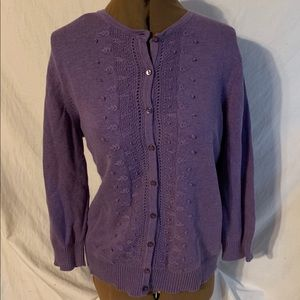Croft & Barrow Purple button up sweater size L